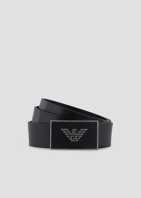 Belt in saffiano leather with logoed plate
