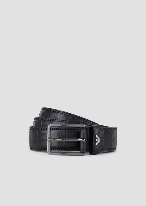 Belt in croc-print leather