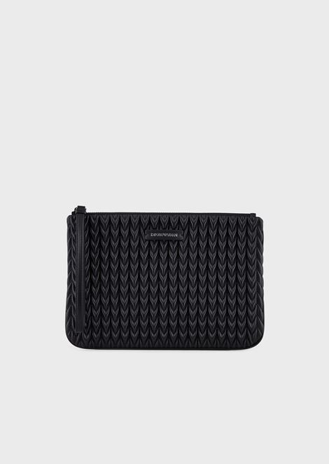 Pochette with tie and quilted drop motif