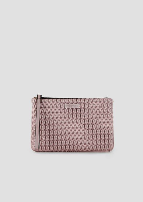 Clutch with tie and quilted drop motif