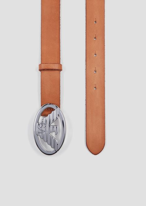 Dry milled leather belt with logo-shaped buckle