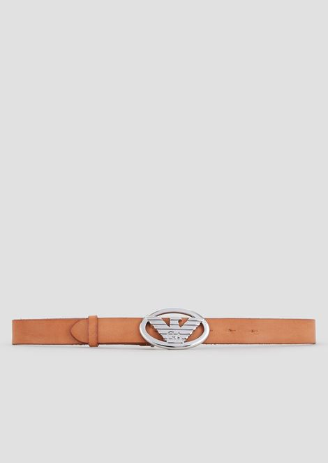 Dry-milled leather belt with logo-shaped buckle