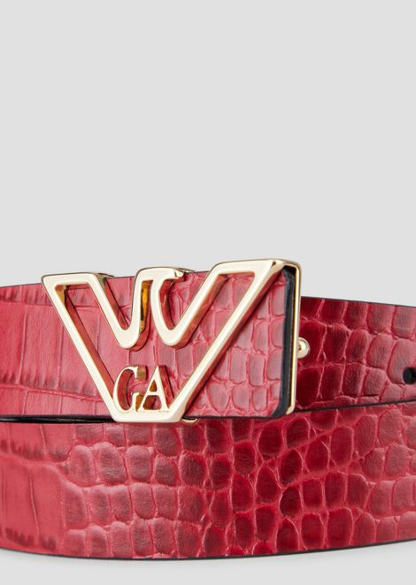 Crocodile-print belt with logo-shaped buckle