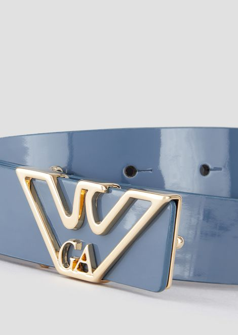 Patent leather belt with gold tone logo