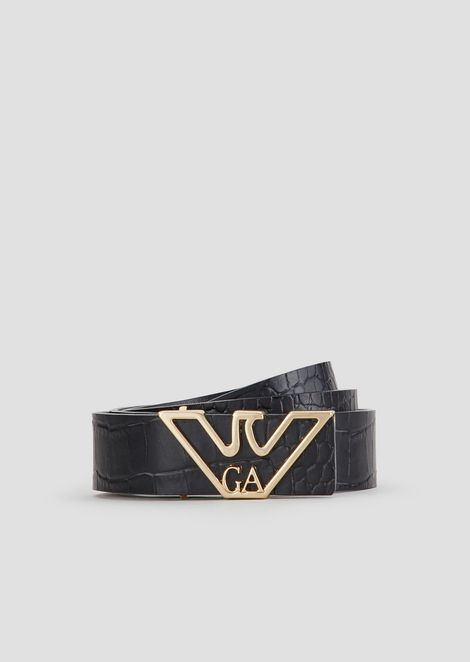 Crocodile embossed belt with logo-shaped buckle