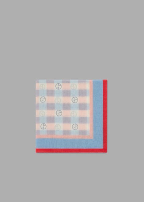 Silk and cotton headscarf with a pattern of squares and logos