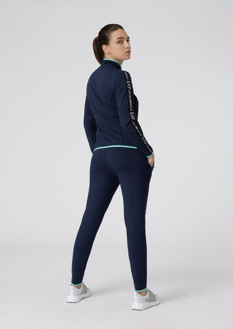 Stretch fabric tracksuit with earphone hole on the sweatshirt