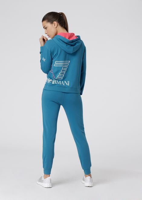 Stretch cotton tracksuit with maxi-logo print