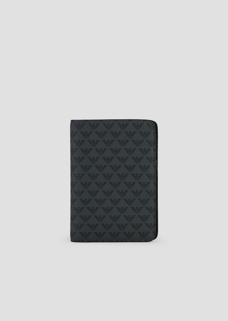 PVC passport holder with all-over monogram print