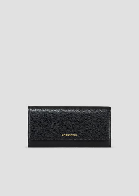 06f269db77 Grainy wallet with flap and logo