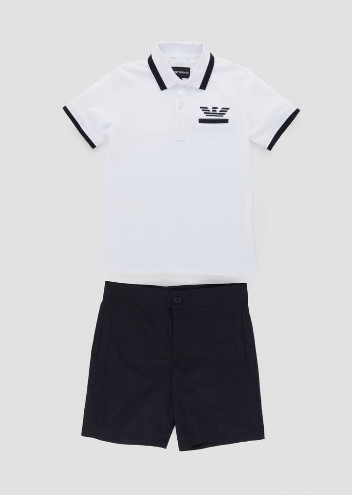 5a64bca919 Pure cotton polo shirt and shorts set