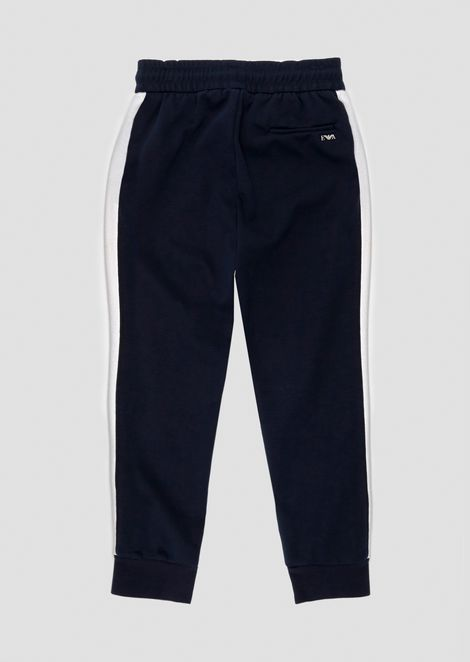 Fleece jogging pants with contrasting side bands
