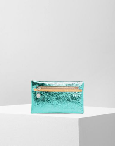 Crinkled leather zip pochette