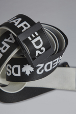 DSQUARED2 Red & Black Punk Acid Tape Belt Belt Man