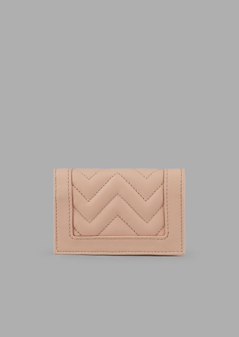 Bi-fold wallet in quilted leather with logo