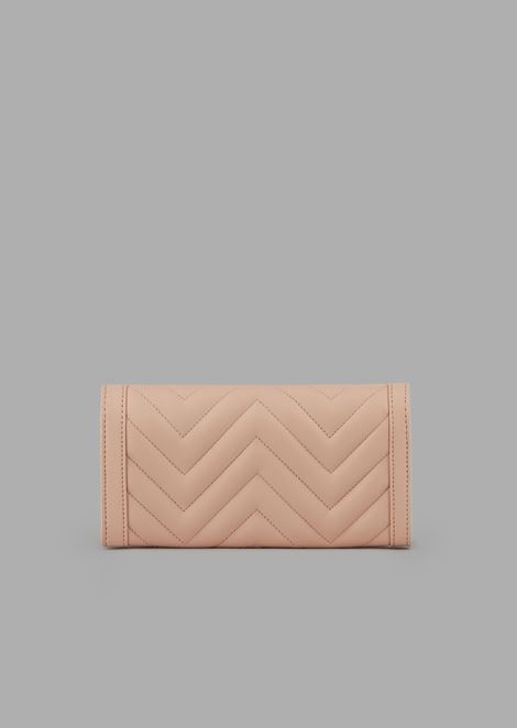 Bi-fold wallet in quilted nappa leather with logo