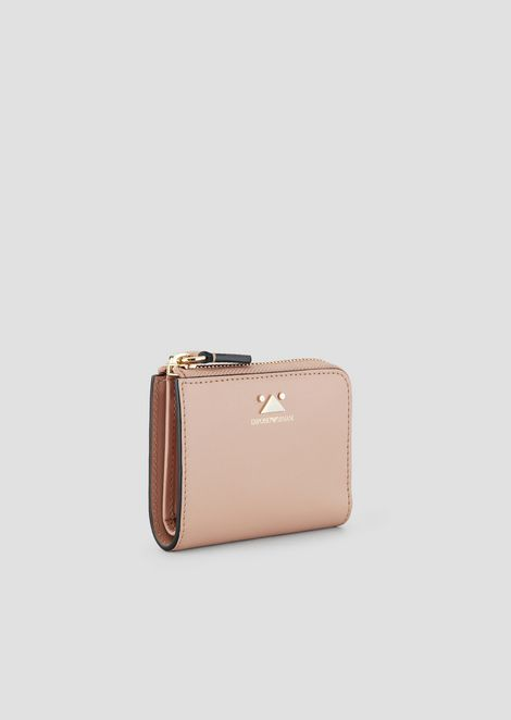 Mini-wallet in vachetta leather with triangular detail