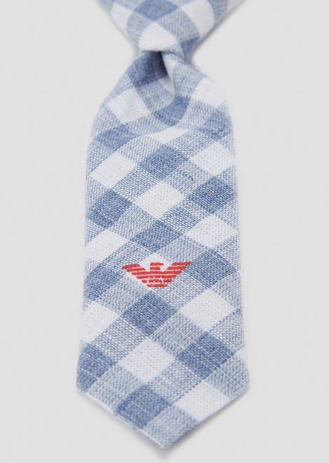 Checked linen tie with embroidered logo