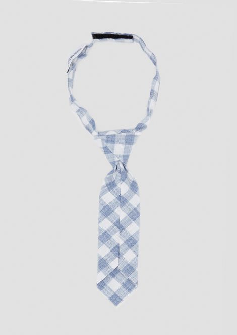 Checkered linen tie with embroidered logo