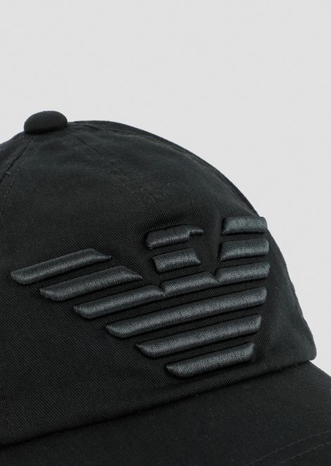 Baseball cap with embossed, embroidered logo