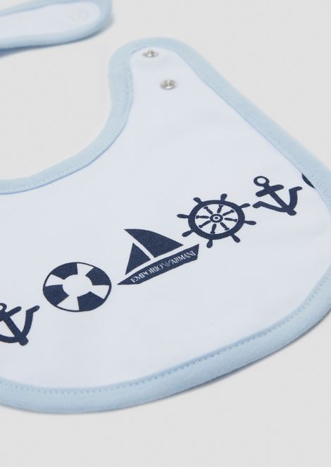 Set of two cotton bibs with sailor-style pattern