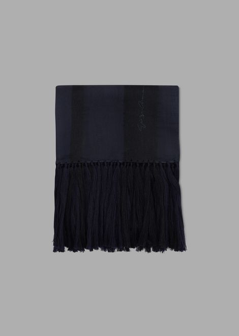 Stole in wool and silk chiffon with fringing