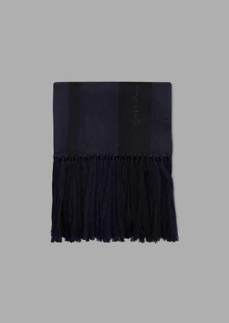 Stola in chiffon di lana e seta con frange