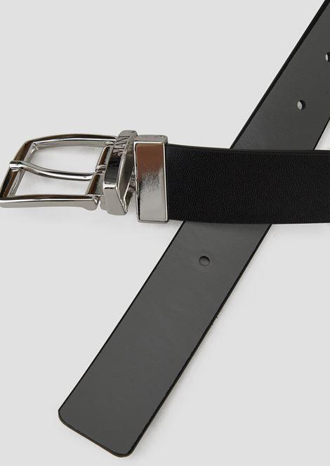 Reversible belt with metallic logo buckle