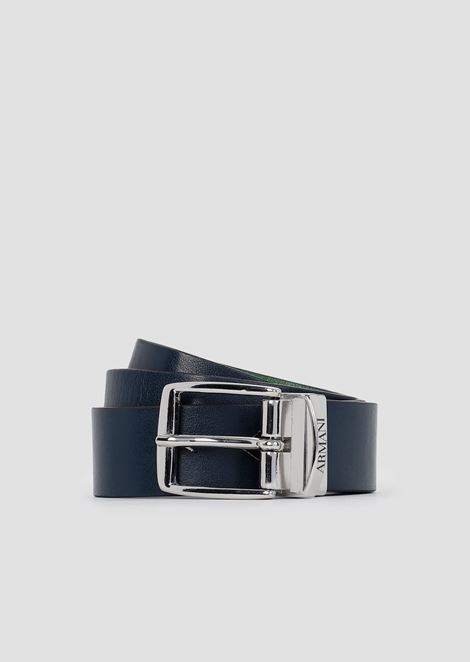 Reversible belt with metallic logo buckle