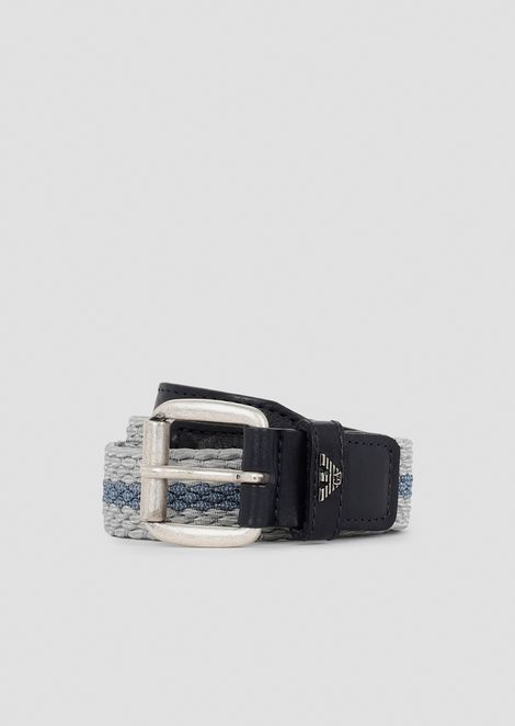 Belt made of interwoven fabric with contrasting stripe