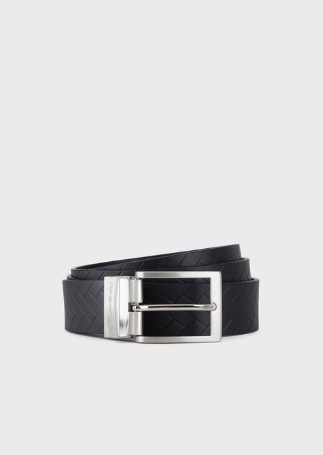 Reversible belt in weave print leather and smooth leather