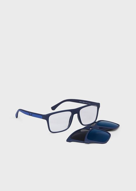 Rectangular man eyeglasses and clip on