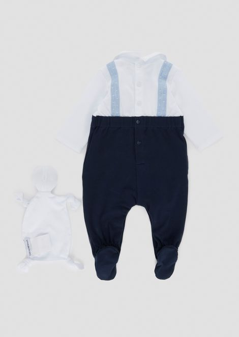 Cotton romper with cuddly stuffy