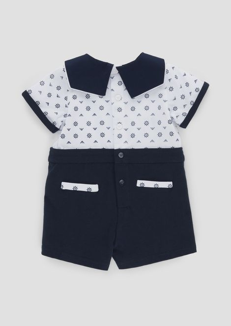 Cotton romper with collar