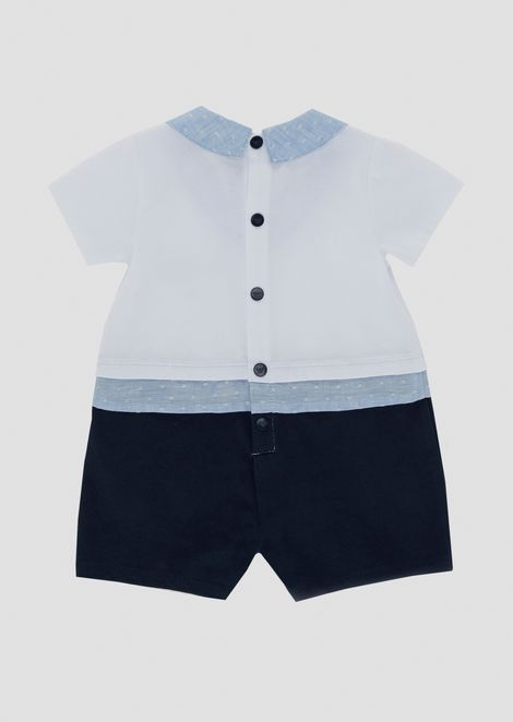 Cotton romper with two-piece effect