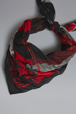 DSQUARED2 Red & Black Punk Silk & Woven Foulard Платок Для Мужчин