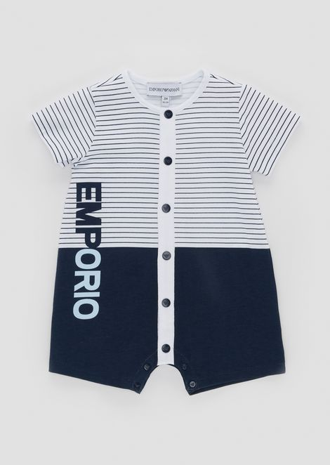 Romper in striped cotton jersey with logo