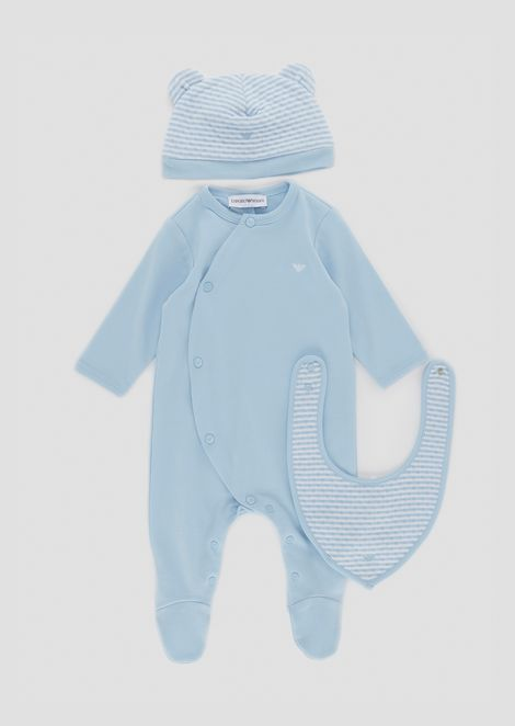 Cotton baby suit with beanie and bib