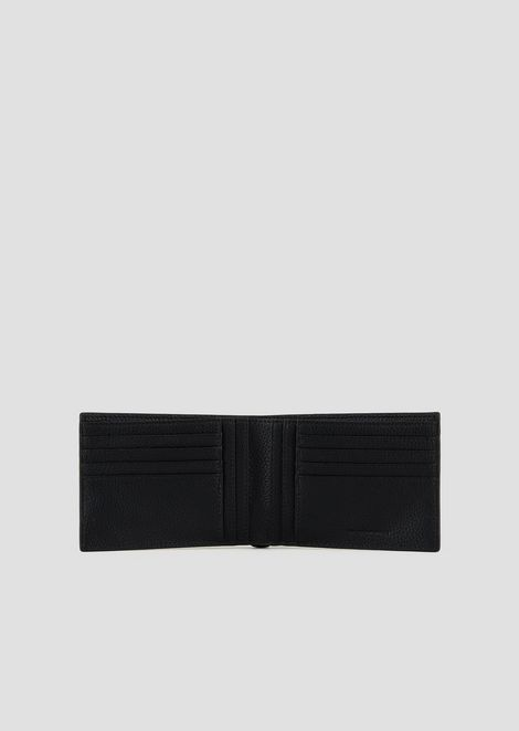 Grained leather wallet with embossed side logo