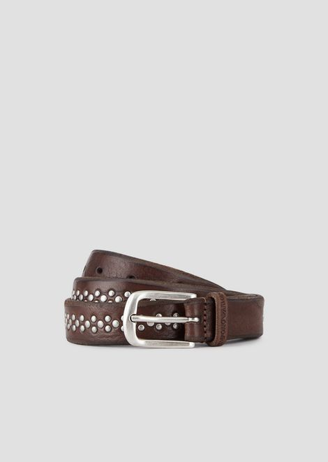 Leather belt with decorative studs