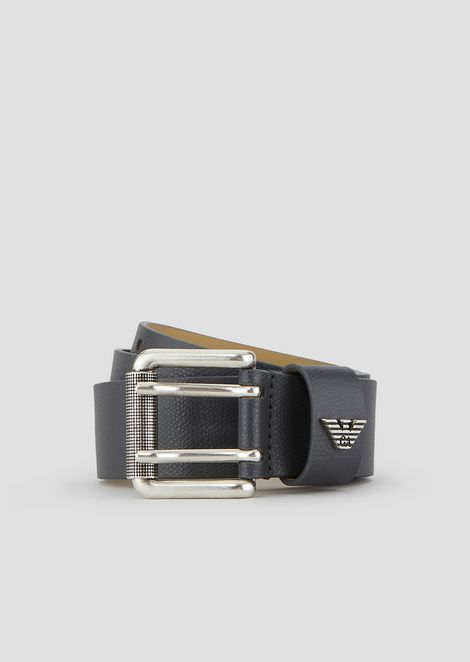 Belt in printed, boarded leather