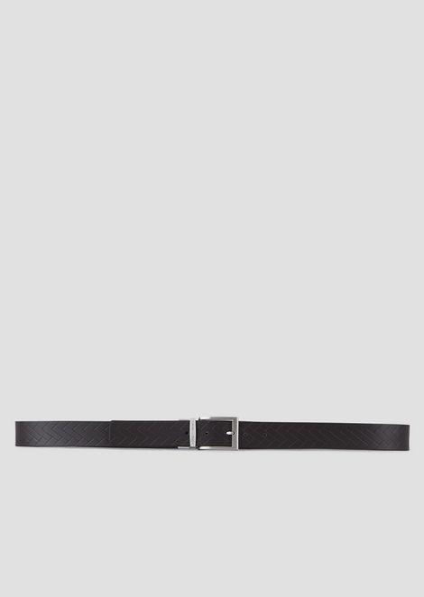 Cinturón reversible de piel con estampado trenzado y piel lisa