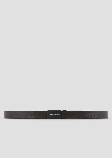 Reversible belt in weave-print leather and smooth leather with logo buckle
