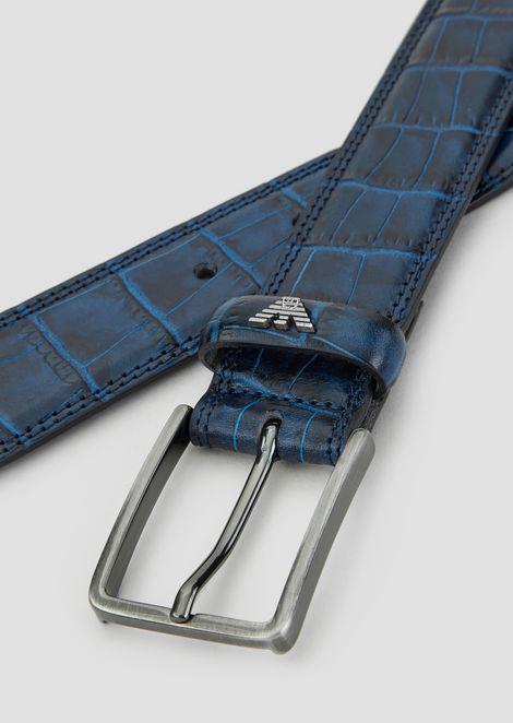 Belt in croc-print leather