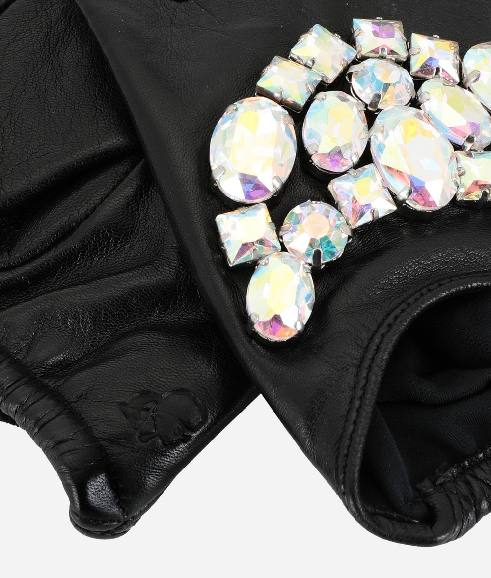 KARL LAGERFELD Sparkly Stones Fingerless Gloves Glove Woman r