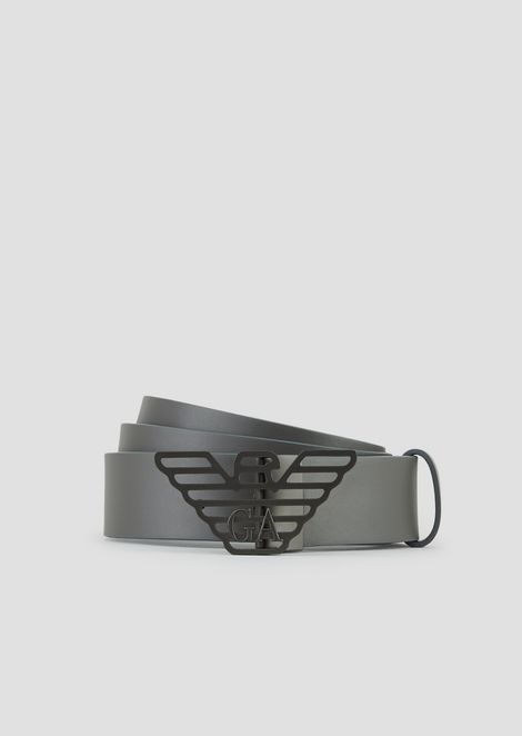 80192d738c00 Smooth leather belt with logo buckle
