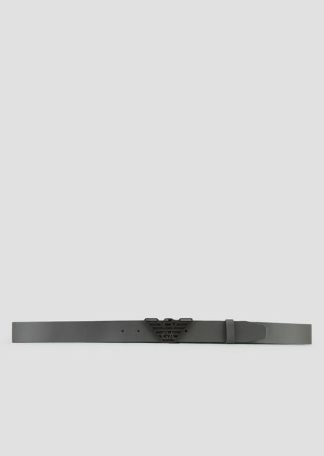 Smooth leather belt with logo buckle