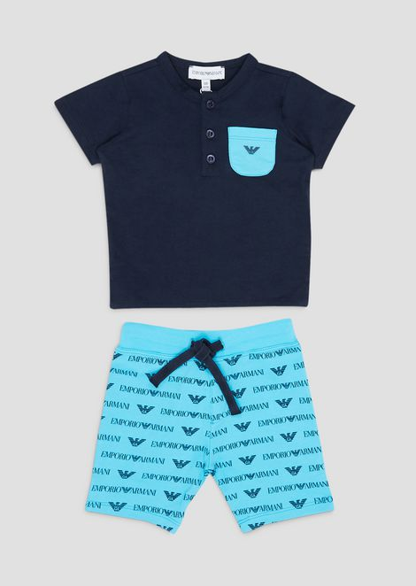 T-shirt and Bermuda shorts outfit in cotton jersey