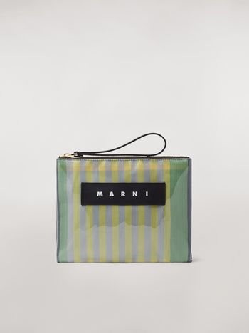 Marni GLOSSY GRIP clutch in striped polyamide yellow green grey pink and turquoise Woman f