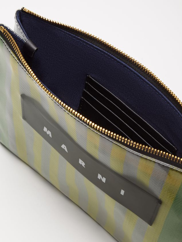 Marni GLOSSY GRIP clutch in yellow, green, gray, pink and turquoise striped polyamide Woman - 5